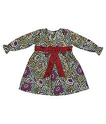 Hypernation Multicolor Floral printedd Cotton Frock For Girl's