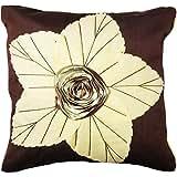 """EtsiBitsi Floral Patch 16"""" By 16"""" Silk Plain Zipper Cushion Cover - Cream Brown"""