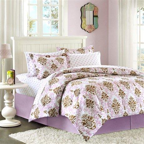 Mizone Abby Comforter Mini Set - Purple/Brown - Twin front-254091