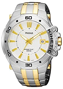 Pulsar Men's PAR147 Kinetic Two-Tone Stainless-Steel Bracelet Two-Tone Case Silver-Tone Dial Transparent Case Back Watch
