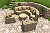 Forever Patio Hampton Radius 5 Piece Patio Wicker Sectional Set with Golden Sunbrella Cushions (SKU FP-HAMR-5SEC-HT-WM)