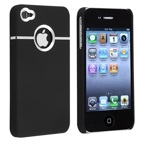 Snap-on Rubber Coated Case compatible with Apple® iPhone® 4 / 4S, Black with Chrome Hole Rear
