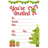 Festive Christmas Party Invitations - Fill In Style (20 Count) With Envelopes