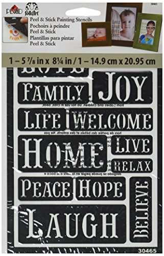 FolkArt Peel and Stick Painting Stencil, 30465 Happy Words (Glass Painting Stencils compare prices)