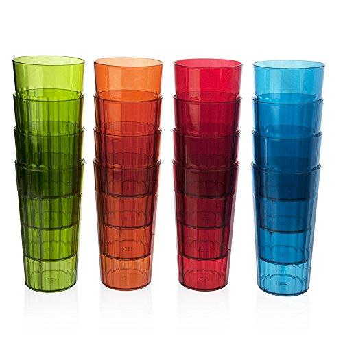 rainbow 16pk clear break resistant drinking cups glasses 20 oz plastic tumblers ebay. Black Bedroom Furniture Sets. Home Design Ideas