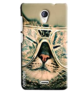 Omnam Cat Printed With Sunglass Designer Printed Back Cover Case For Micromax Unite 2 A106