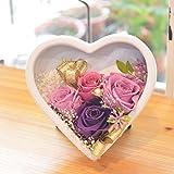 [florence du]プリザーブドフラワー 紫バラ ハートスタンドアレンジメント 専用クリアケース付 結婚記念日 誕生日 祝い フラワーギフト 花ギフト プレゼント 敬老の日