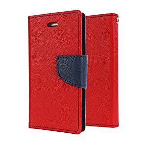 AEMA (TM) Mercury goospery Fancy Diary CARD Wallet Flip Case Back Cover for SONY XPERIA M4 RED