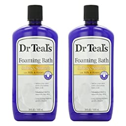 Dr. Teal\'s Foaming Milk Bath with Milk and Honey, 34 Fluid Ounce, (Pack of 2)