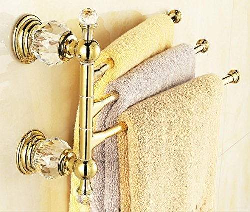 "AUSWIND Antique Polished Gold Brass Towel Rack 3 Arms 14.17"" Crystal Copper Finished Wall Mounted Bathroom Hardware"