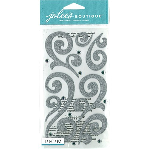 Jolees Boutique Flourish with Gems, Silver Puffy (Jolees Gems compare prices)