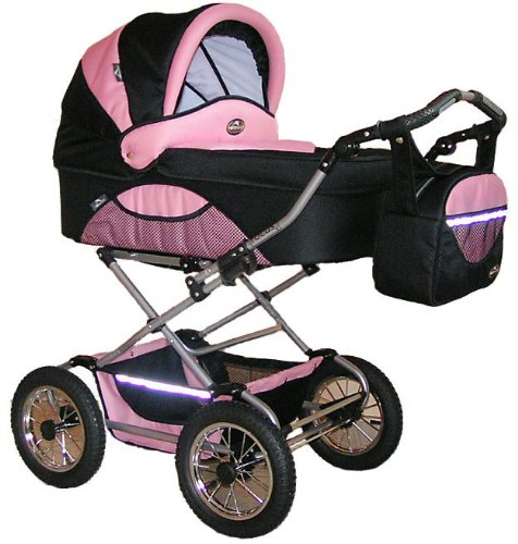 FOCUS COMFORT PRAM 2 in 1 - BLACK & PINK ,Stunning luxurious pram and stroller, made in EU . Amazing quality and value , 12 months guarantee. Changing bag , rain cover and shopping basket incl. Many designs available , UK stock.