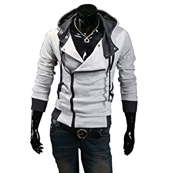 Cottory Men's Oblique Zipper Hoodie Cosplay Costume Top Coat Jacket