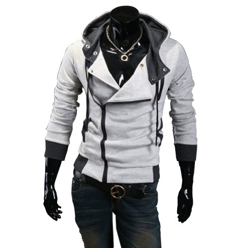 Fancy Dress Store Men's Oblique Zipper Hoodie Cosplay Costume Top Coat Jacket