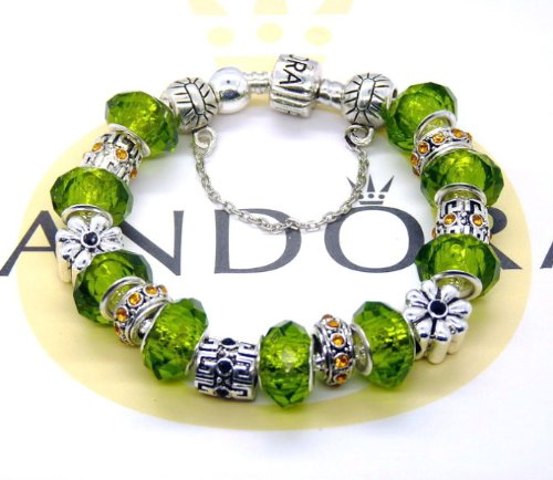 Pandora Elegant 925 silver chain Bracelet/ bangle/ wristlet 925 silver green glass beads Crystal 7.5 inches Perfect gift for Christmas/ Valentine/ Celebrity