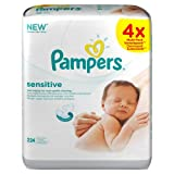 Pampers Perfume-Free Sensitive Wipes - 4 x Packs of 56 (224 Wipes)