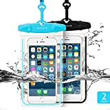 """Universal Waterproof Case FITFORT 2 Pack Universal Dry Bag/ Pouch Clear Sensitive PVC Touch Screen for iPhone X 8 7 6S Plus Galaxy S8 S7 Edge S6 S5 S4 Note 4 3 LG G5 G3 Up To 5.5 """"(Black+Blue)"""