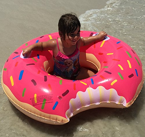 Rilahy Inflatable Pool Tube With Safety Handles Large Strawberry Pink Donut Pool Floats For Kids