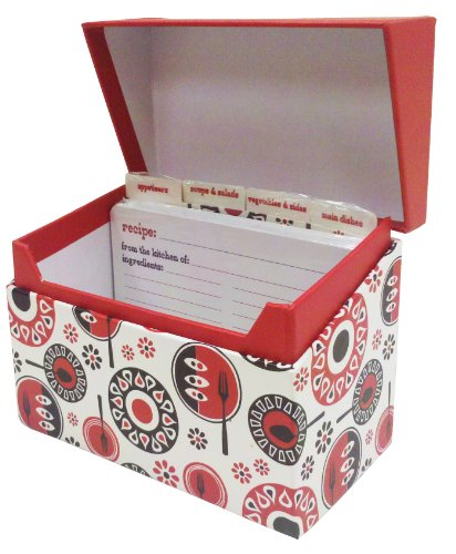 The Gift Wrap Company Recipe Box With Metal Hinges, Retro Table front-988392