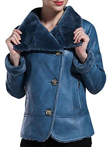 HN Womens Stylish Distressed Fancy Sheepskin Outwear Coat Leather Jacket<br />