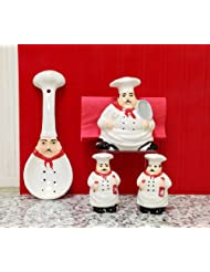 New Tuscany Plump Bistro Chef Ceramic 4pc Set, Napkin Holder, Salt, Pepper and Spoon Rest set, 88925 28 by ACK by ACK