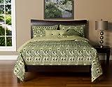 Siscovers 6-Piece Batik Bonsai Duvet Set, King, Green