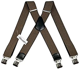 Mens Suspenders Wide Adjustable and Elastic Braces X Shape with Very Strong Clips - Heavy Duty (Beige)
