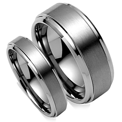 Matching Wedding Band Set, His & Her Tungsten Rings, Brush Matted Finish, Bevel Edge, 8MM (Size 8-15), 5MM (Size 5-8) Half Sizes