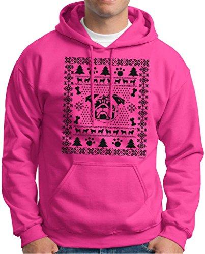 Pug Ugly Christmas Sweater Hoodie Sweatshirt Medium Heliconia