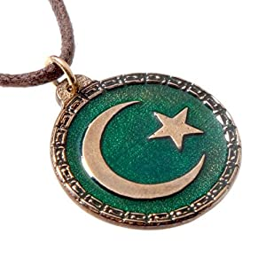 Crescent Moon and Star Green Enamel Pendant Necklace on Adjustable Natural Fiber Cord