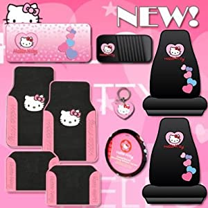 10pc Hello Kitty Car Accessories Set with Design Mats by Hello Kitty