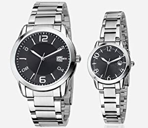 Orient Idea Ori-0099E Black Dial & Markers Silvery Steel Band Quartz Analog Watches for Lovers with Date Calendar