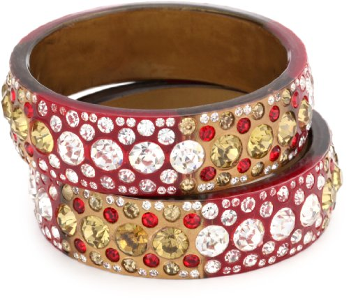 Chamak by priya kakkar 2 Maroon, Red, and White Crystal Bangle Bracelet Set
