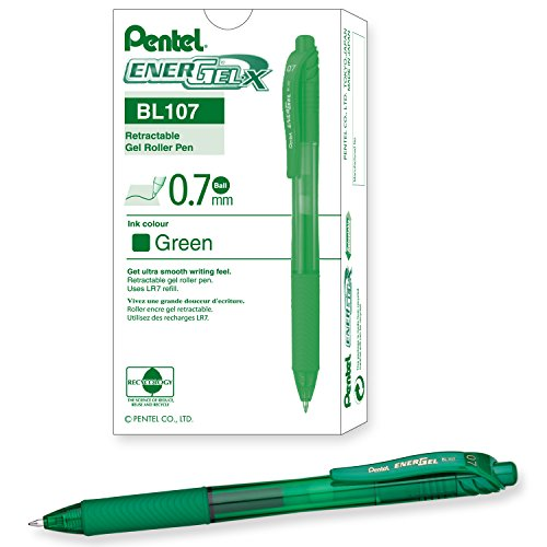 Pentel Gel Pen - Paquete de 12 bolígrafos de tinta gel, verde