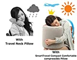 SmartTravel Compact Comfortable compressible Pillow For Traveling Hiking Camping! Office Napping and Home relaxing Anywhere!!! (2. L size (for those more than 5'7'' tall))