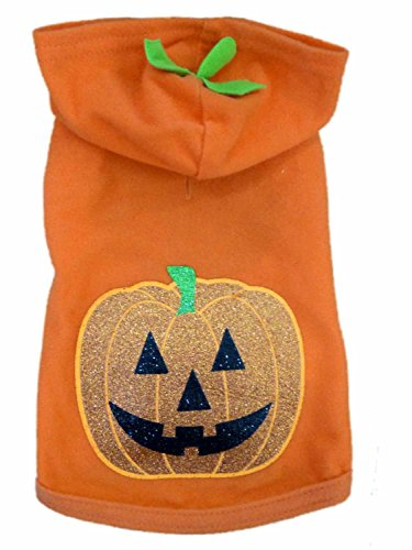 Simply Dog Hoodie Costume Orange Glittery Pumpkin Fleece Pet Outfit Shirt (Pumpkin Outfit For Dogs)