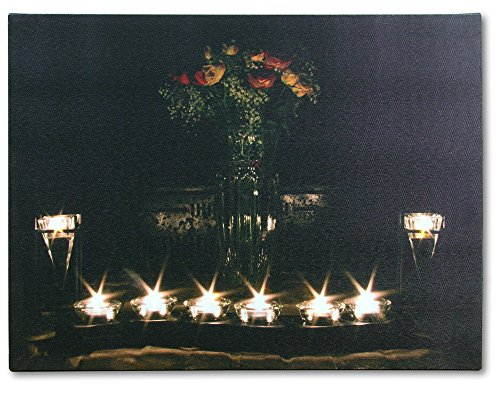 Wall Art With 8 Led Lights Canvas Print Lighted Candle And Flower Vase Picture - Romance And Roses