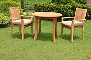 "3 Pc Grade-A Teak Wood Dining Set -36"" Round Table And 2 Lua Stacking Arm Chairs #WFDSLU1 from WholesaleTeakFurniture"