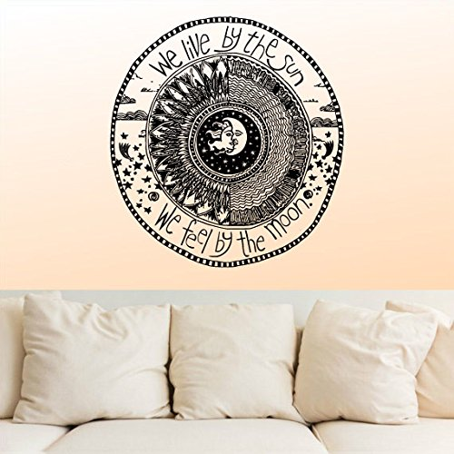 Wall Decal Vinyl Sticker Decals Decor Design We Live By The Sun We Feel By The Moon Stars Qoute Ethnical Symbol Bedroom Dorm Office (R1100) front-560043