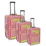 3pc Polka Dot Fushia & Green Luggage Set