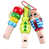 Baby Wood Whistle,YIFAN Cartoon Animal Wooden Whistle Educational Music Instrument Toy for Baby Kids Children - 1 Piece- Random Color On Sale