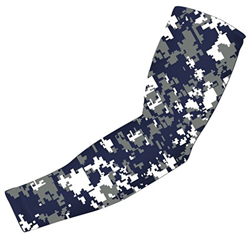 Nexxgen Sports Apparel Moisture Wicking Compression Arm Sleeve (Single) - Men, Women & Youth - 40 Colors - Digital Camo & Elite (Small, Navy Blue/Gray/White)