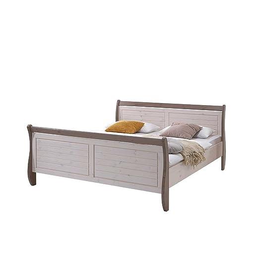 Massivholz Bett in Weiß Landhaus Pharao24