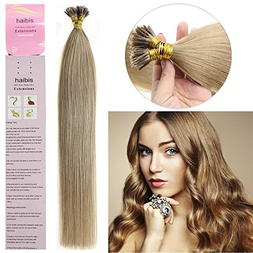 haibis 16''-22''Remy Stick tip Human Hair Extensions Straight Keratin Fusion I-tip Hair Extensions 1g/s 100s(20'',#16 Ash Blonde)