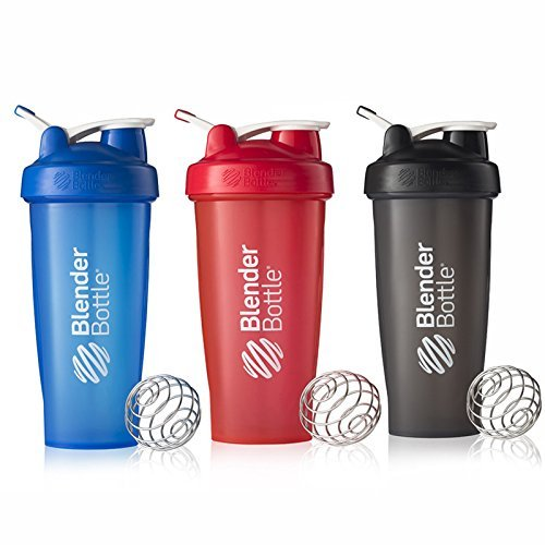 BlenderBottle 28oz Classic Loop Top Shaker Bottle 3-Pack, Full Color Blue/Black/Red, 28 Oz/Blue, Black, Red