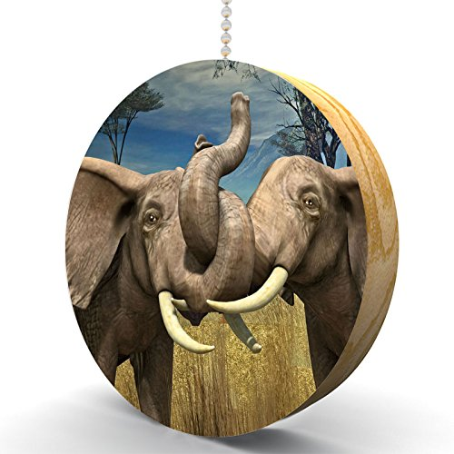 Serengeti Tenderness Elephants Hardwood Oak Fan / Light Pull (Wildlife Fan Pull compare prices)
