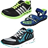 Earton Men Combo Pack Of 3 Sports Shoes With Sandals