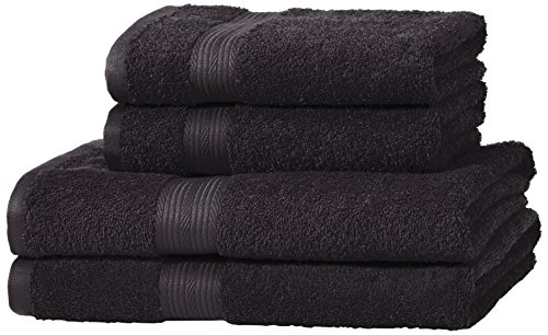 AmazonBasics - Set di 2 asciugamani da bagno e 2 asciugamani per le mani che non sbiadiscono, colore Nero