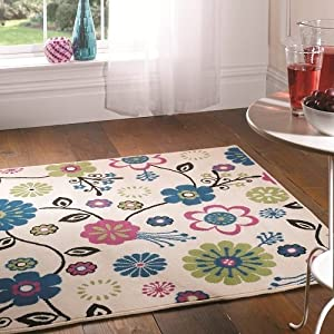 Element Bohemia Cream Floral rug. 120x160cm 2 colours. 100% Polypropylene