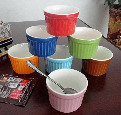 Astra shop Stoneware Creme Brulee 4 oz. Porcelain Ramekins, Set of 6 |Durable Craftsmanship - Dishwasher, Freezer & Microwave Safe - Assorted Colors